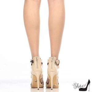 The Shoe Loft Shoes - Gia Nude Patent Leather Cross-Strap Heels